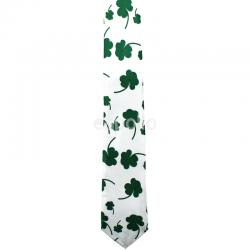 St. Patrick's Day Clover Necktie - White