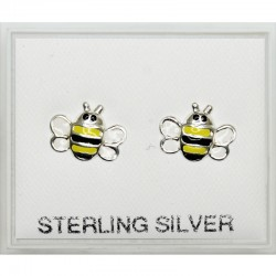 Sterling Silver Bee Design Studs - 10mm