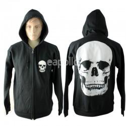 Unisex Hoodie With White Skull Imprint - Black