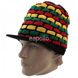 Unisex Long Knitted Rasta Design Peak Hat - Black