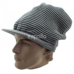 Unisex Plain Knitted Peak Hat - Grey