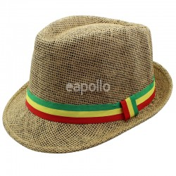 Unisex Straw Trilby Hat with Rasta Coloured Stripe - Brown