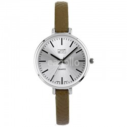 Wholesale Eton Ladies Faux Slim Strap Watch - Olive/Silver