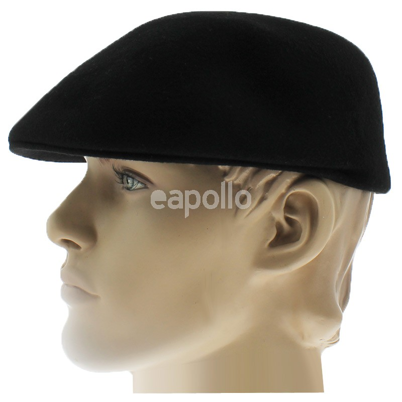 Mens Plain Wool Flat Caps - Black (S)  b59e88eaebe