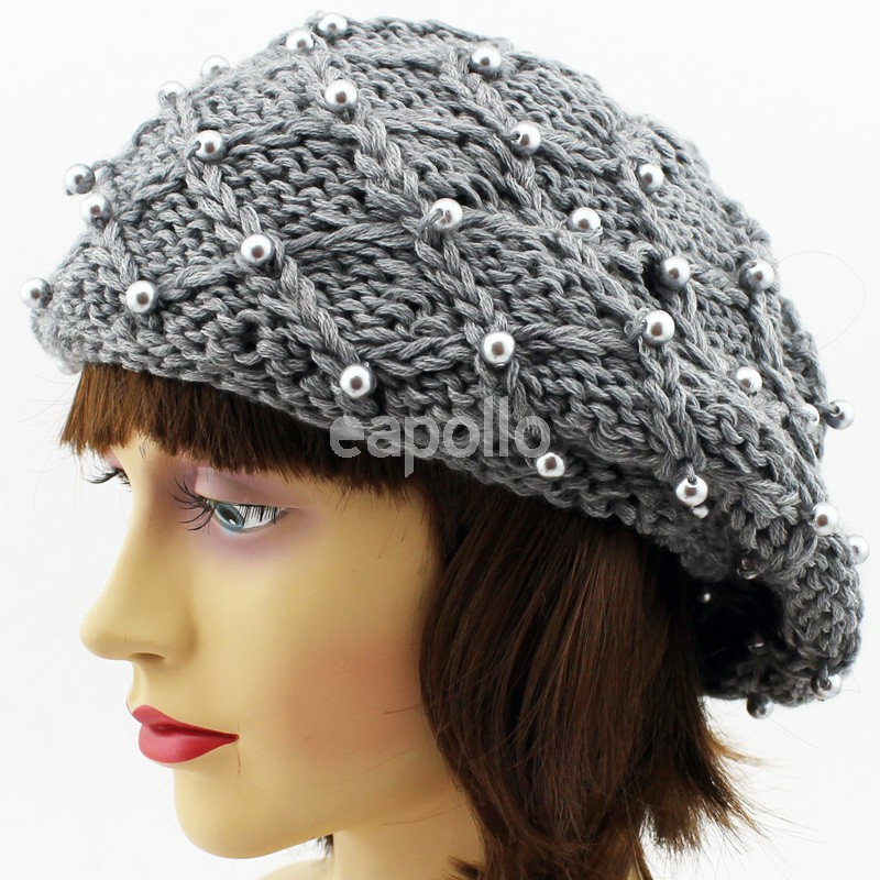 173f96d04d2 More Views. Ladies Beret Hat With Pearls - Assorted Colours ...
