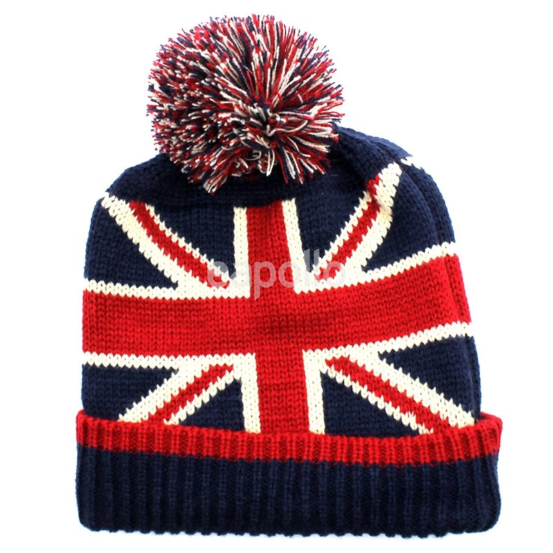 ac3320eb291 ... Union Jack Knitted Winter Hat with Pom Pom