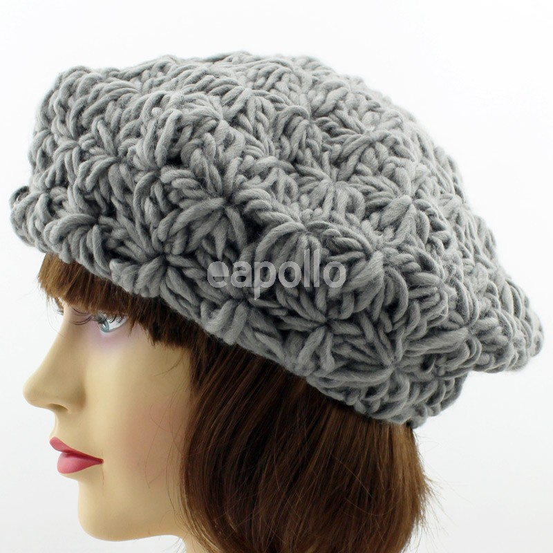 Ladies Chunky Knit Beret Hat - Assorted Colours  6a14f216f11