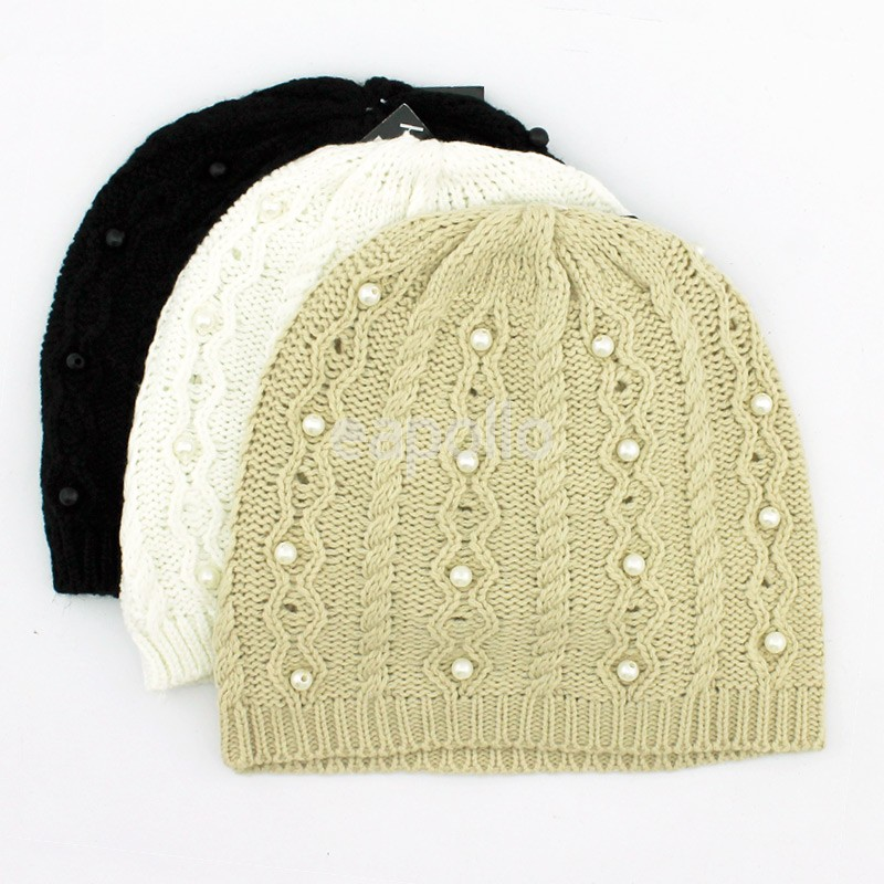 13728734572 Ladies Beanie Hat with Pearl Details - Assorted Colours