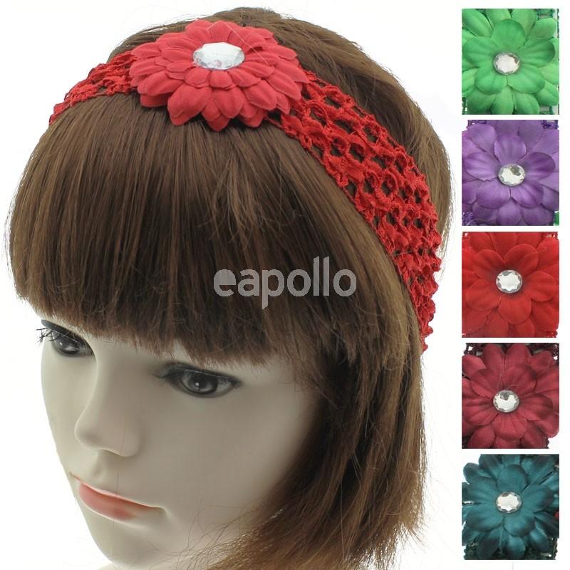 Crochet Flower Design Headbands Assorted Dark Colours Uk