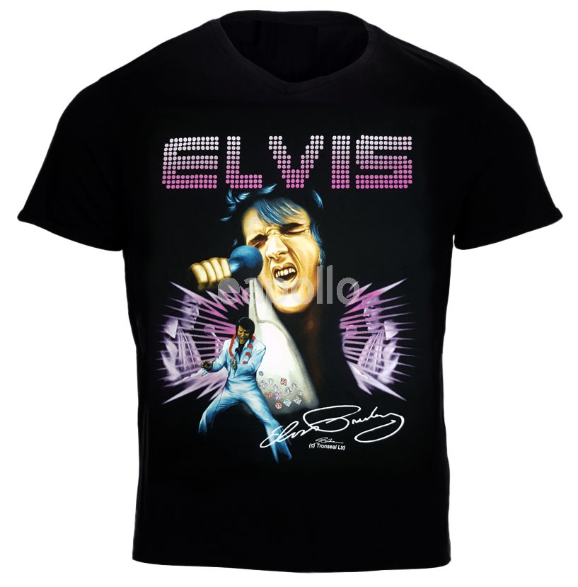 Elvis presley t shirt with printed signature for Elvis t shirts wholesale