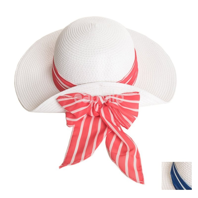 bc86f9eee Ladies Straw Hat With Striped Coloured Scarf Band - Assorted Colours