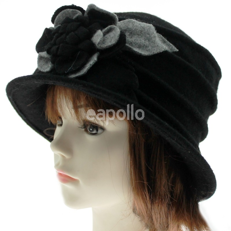 79b42c690b6 Ladies Wool Cloche Hats with Flower - Black with Grey