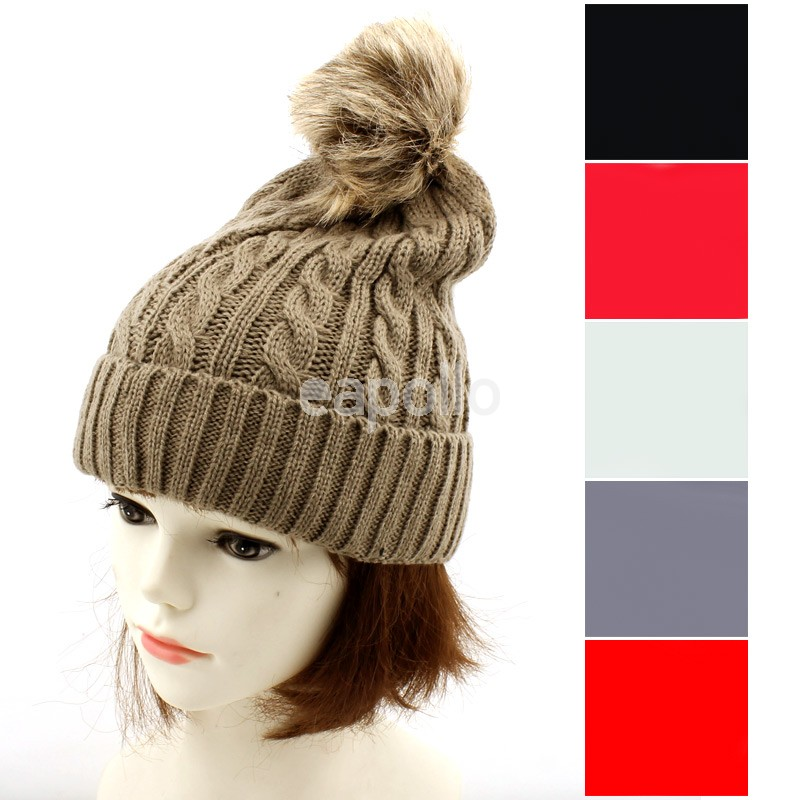 Ladies  Thick Knitted Beanie Hat With Pom-Pom - Assorted Colours ... 75b33ebc9370