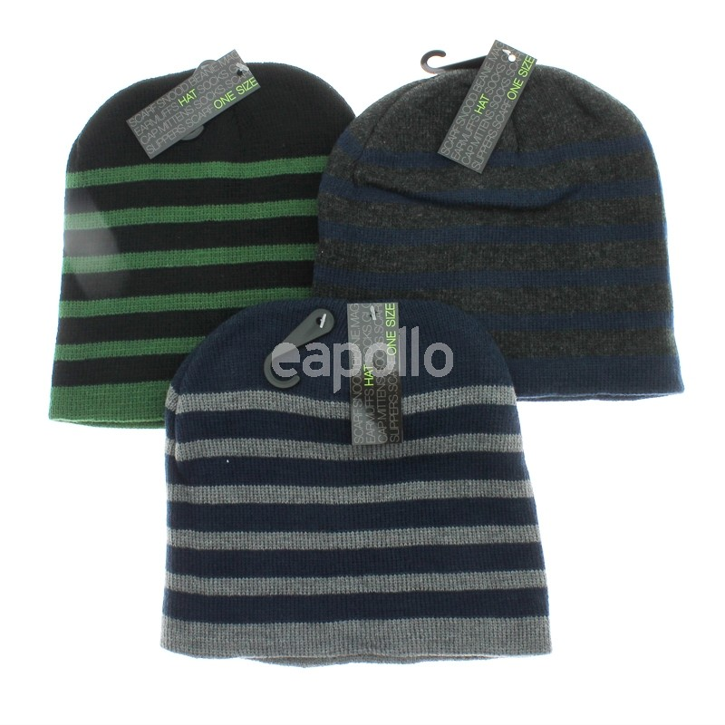 Men s Striped Beanie Hat - Assorted Colours  fea1cd75116