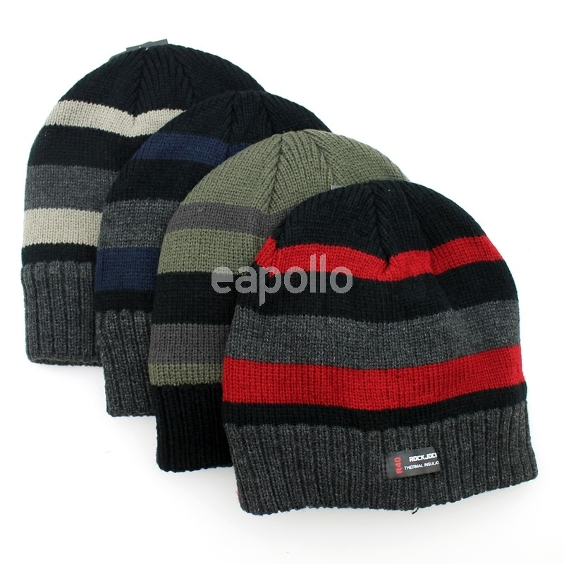 Mens Striped RockJock Insulated Beanie Hat - Assorted Colours  d8315f36c29