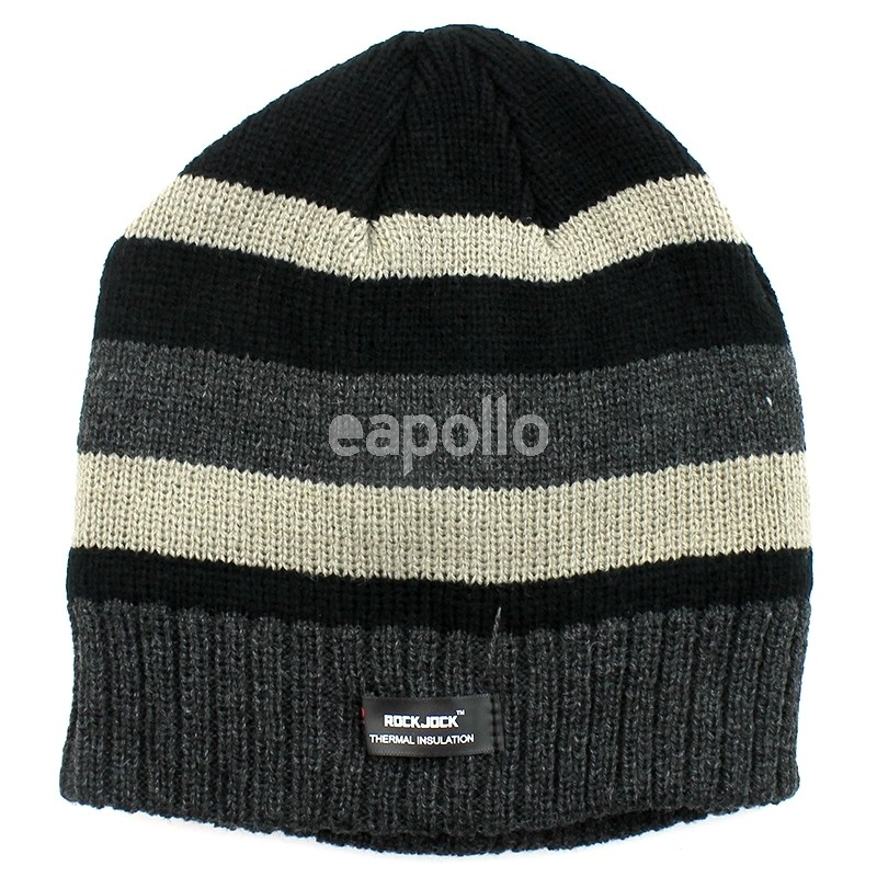 ... Mens Striped RockJock Insulated Beanie Hat - Assorted Colours c2ec3eb64bcc