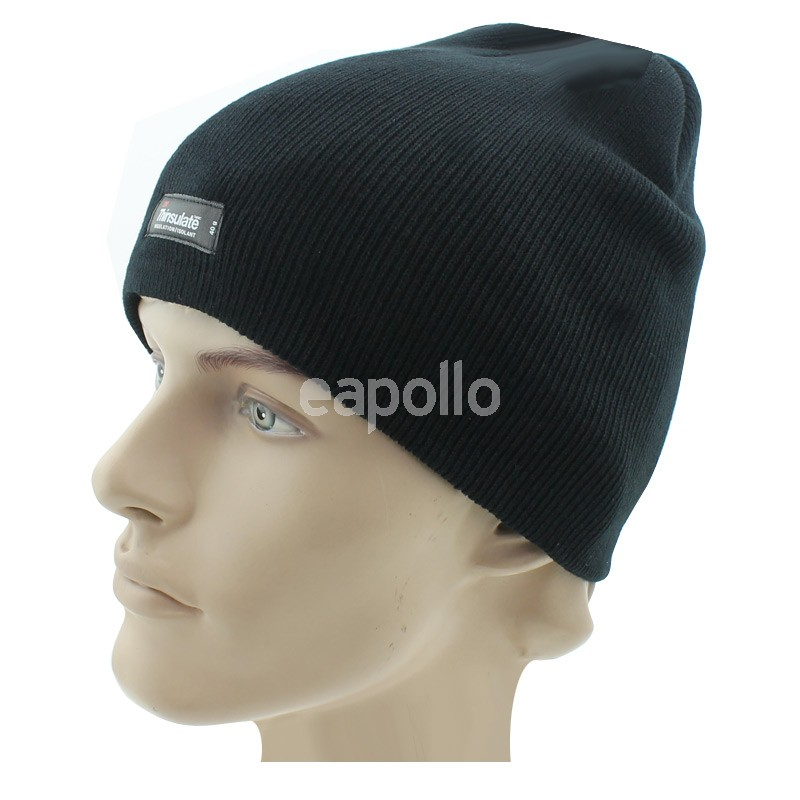 676772a9ddd91 Mens Thinsulate Small Beanie Hat - Black