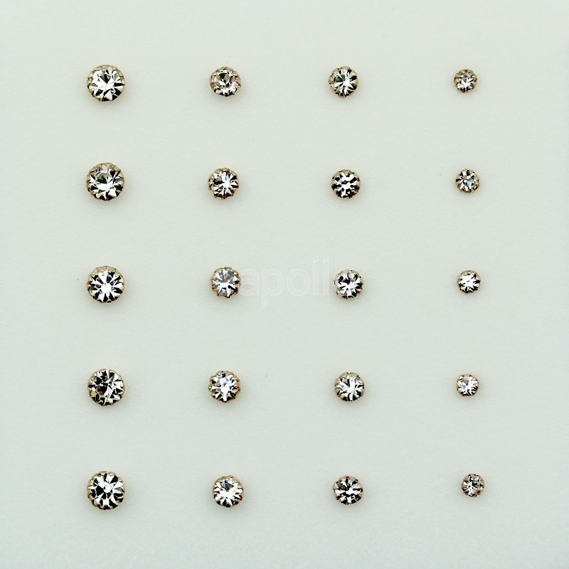 Round Rose Gold Crystal Nose Studs Assorted Sizes