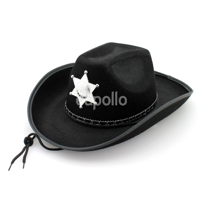 a075c5b1d5f Sheriff s Cowboy Hat With Cord - Black