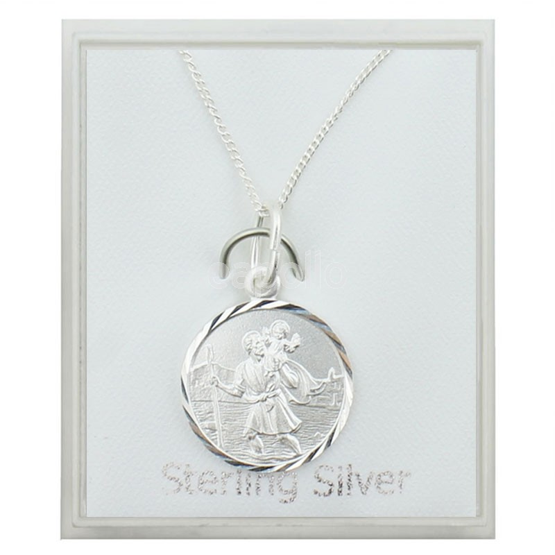Sterling silver large st christopher pendant necklace 15mm aloadofball Choice Image