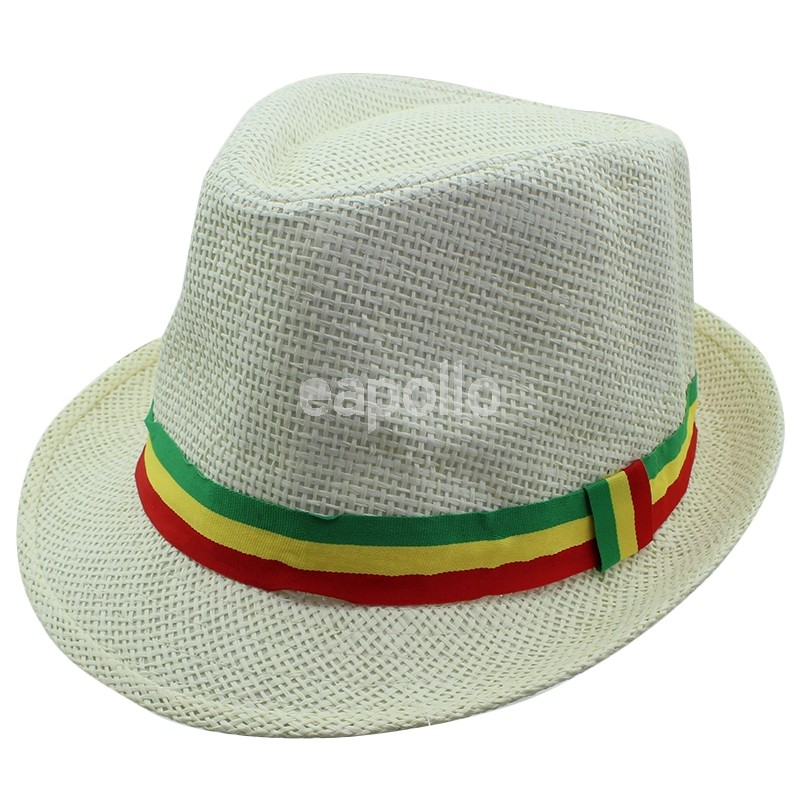 f2d9aaa717d9b8 Wholesale Unisex Straw Trilby Hat with Rasta Coloured Stripe - Cream ...