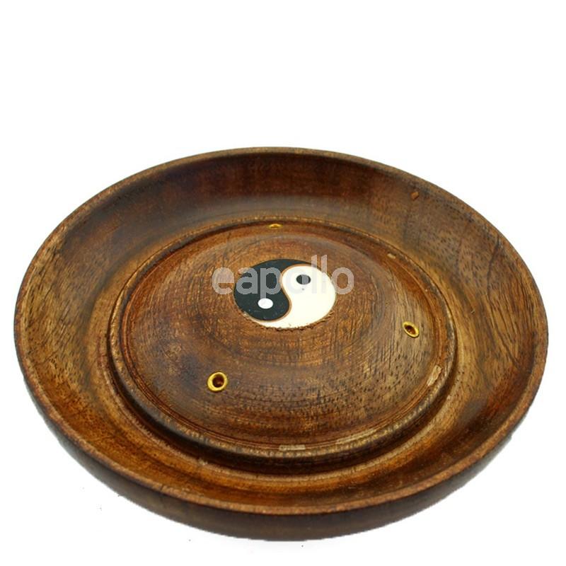 wooden incense holder plate yin yang design 5 uk wholesaler