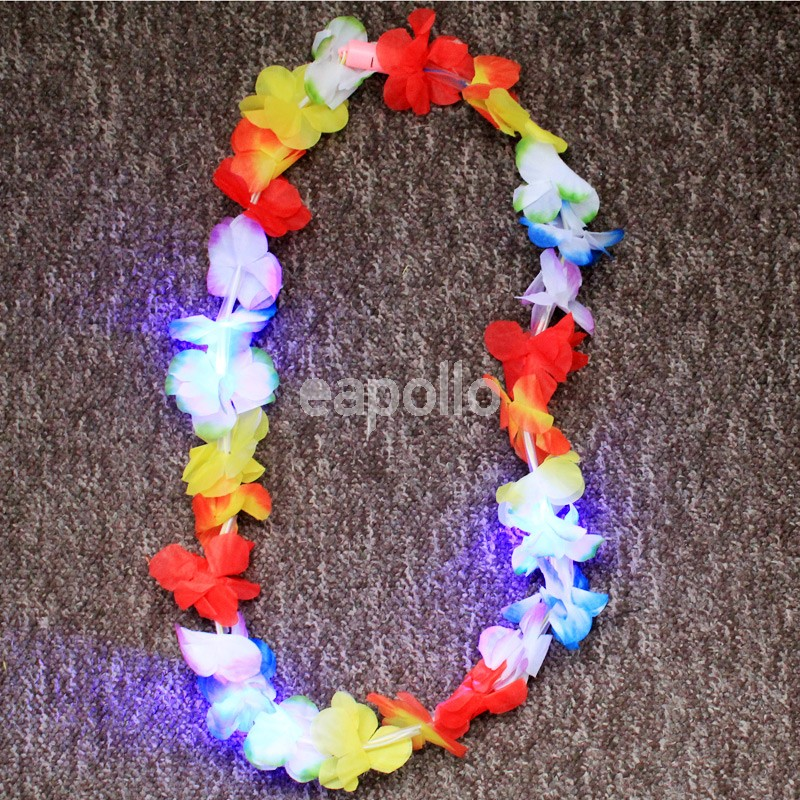 Hawaiian Flower Lei Garland Flashing Necklace Uk