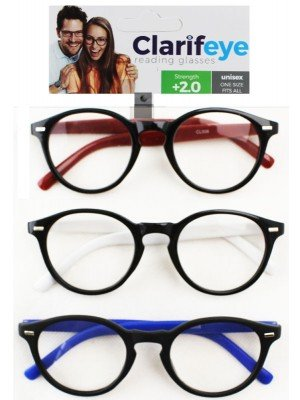 Clarifeye Reading Glasses +2.0 - Assorted Colours