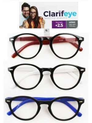 Clarifeye Reading Glasses +2.5 - Assorted Colours