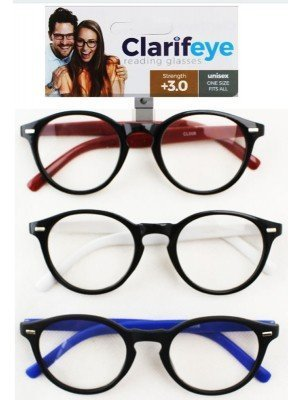 Clarifeye Reading Glasses +3.0 - Assorted Colours