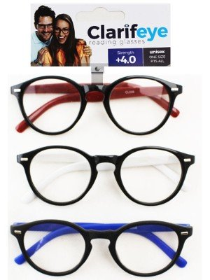 Clarifeye Reading Glasses +4.0 - Assorted Colours