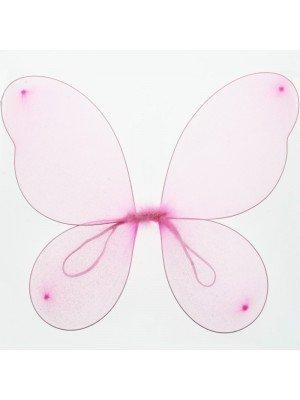 Pink Big Glittered Plain Fairy Wings