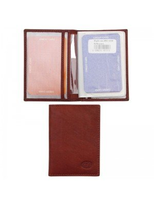 Men's Florentino Leather Card Wallet With 15 Card Slots - Red & Brown