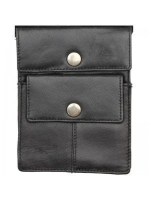 Wholesale Leather Shoulder Holster Pouch- Black With 2 Button Pocket