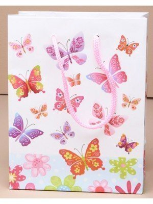Large Glossy White Gift Bag with Butterfly Print (23cm x 18cm x 10cm)