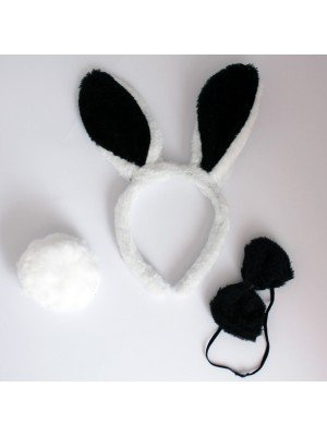 Animal Ear And Tail Set - Bunny Design (Black And White)