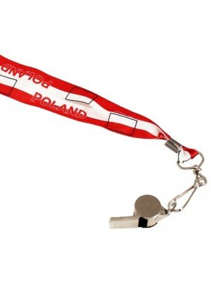 WHOLESALE Silver Whistle With Lanyard - Poland Flag Design