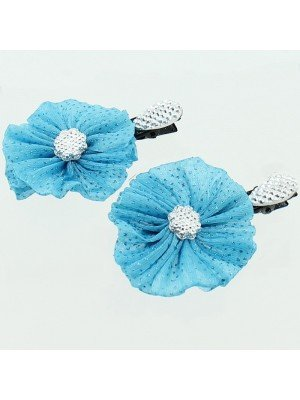 Diamante Flower Hair Clips - Assorted Colours