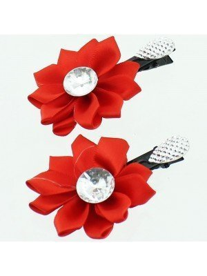 Childrens Flower Design Hair Clips With Crystal Centre - Assorted Colours