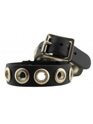 Wholesale 1 Row Black Studded Leather Bracelet Button Style