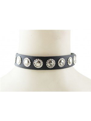 1 Row Flower Fitting Leather Choker