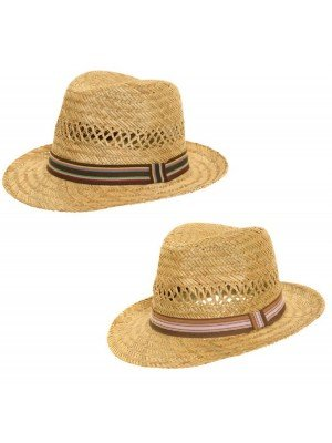 Children Straw Trilby Hat With Stripe Band - Assorted