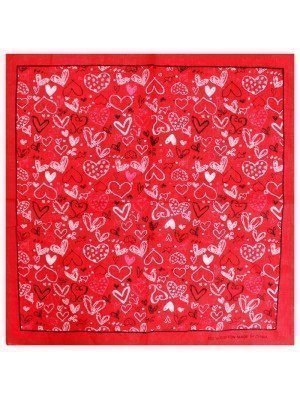 Hearts Bandana - Red