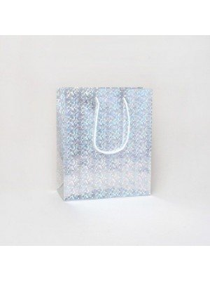 Silver Holographic Foil Gift Bag 21.5x18x7.5cm