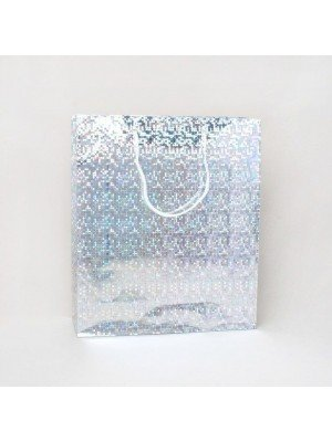 Silver Holographic Foil Gift Bag 27x23x7cm