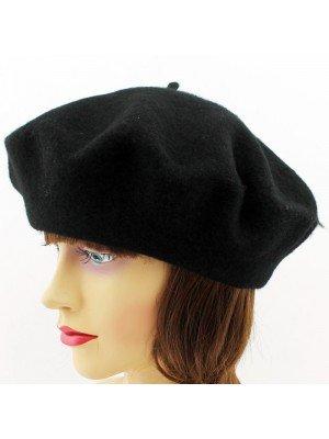 Ladies Acrylic Felt Beret Hat - Black