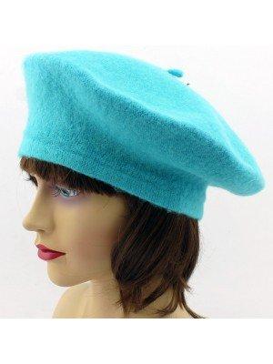 Ladies Acrylic Felt Beret Hat - Turquoise