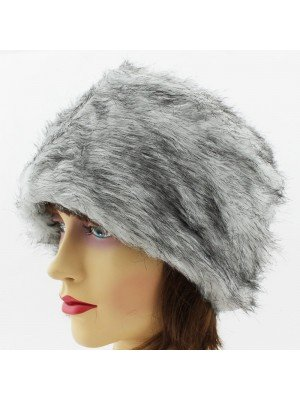 Ladies Fur Hat with Fleece Lining - Grey and Black