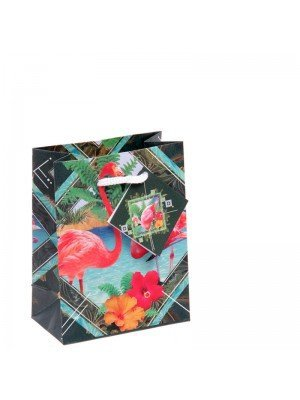 Small Flamingo Gift Bag - 11 x 14 x 6cm