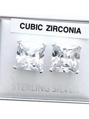 Wholesale Square CZ Studs-Clear(10mm)
